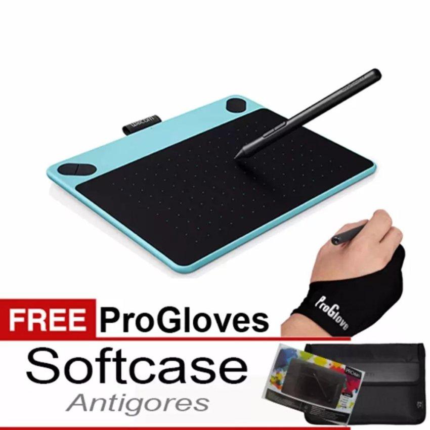 Wacom Intuos Draw CTL490 Pen Tablet - Mint Blue / White Free Softcase+ Antigores dan Glove