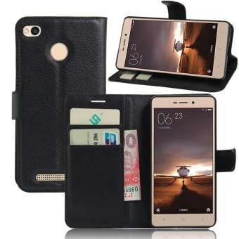 Wallet Flip Leather Case For Xiaomi Redmi 3S/Xiaomi Redmi 3 Pro(Black) - intl
