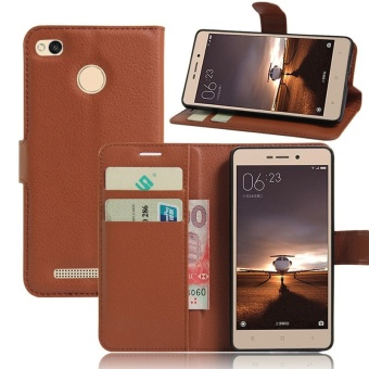Wallet Flip Leather Case For Xiaomi Redmi 3S/Xiaomi Redmi 3 Pro(Brown) - intl