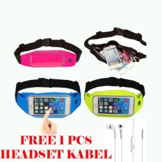 Waterproof Sport Waist Bag for Handphone Android+Free Headset Kabel for Samsung galaxy A3 - Biu Muda