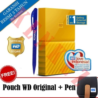 WD My Passport New Design 1TB/2.5Inch/USB3.0 - Kuning + Free Pouch + Pen