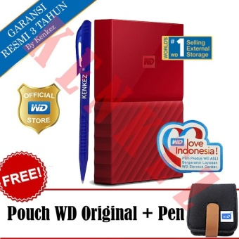 WD My Passport New Design 2TB/2.5Inch/USB3.0 - Merah + Free Pouch + Pen