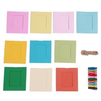 10 Pcs Wood Clip + Paper Photo Frame(3 Inches) With Lanyard Multicolor