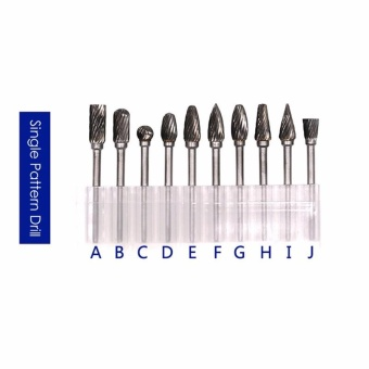 10pcs Tungsten Steel Hard High Speed Steel Rotary File ElectricGrinding Accessories or Dremel Rotary Burr Tool