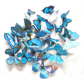 ... 12 buah 3D PVC Kupu-kupu Magnet Kerajinan Dinding Stiker Rumah Dekorasi Biru - 4