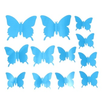 12pcs 3D Mirror Butterfly Wall Stickers Living Room Bedroom Wall Decor(Blue) - intl