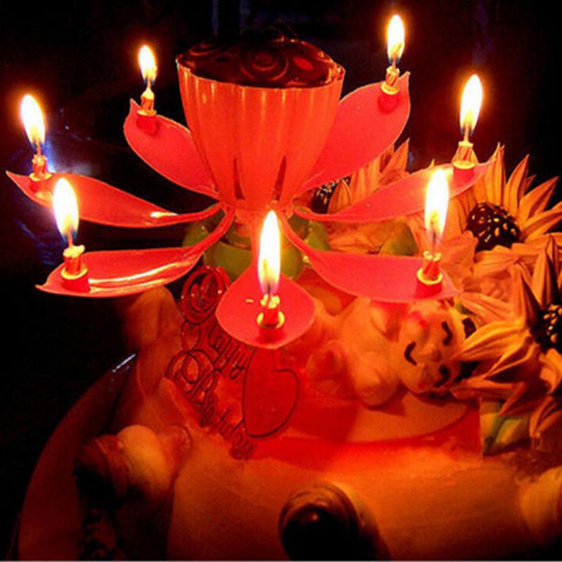 14 lilin bunga Lotus musik berputar selamat ulang tahun hadiah pesta cahaya International .
