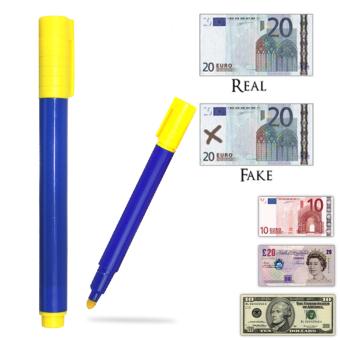 3 buah alat pemeriksa Uang Palsu uang kertas penguji pulpen Marker (biru dan kuning) ...