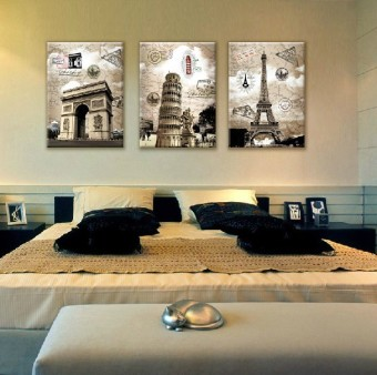 harga 3 Eropa gambar dekoratif panel dinding bangunan di Paris Italpemandangan lukisan cat minyak di atas kanvas seni cetakan panasdekorasi besar (tanpa bingkai) - ???? ?????? Lazada.co.id