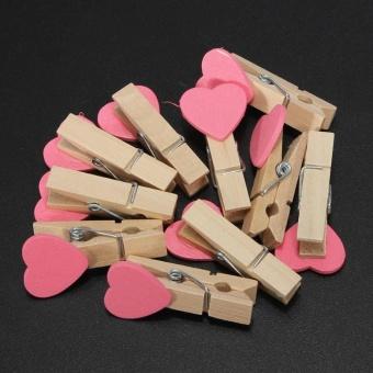 30 Pcs Fashion Heart Shape Clips Wooden Craft Photos Paper PinClothespin Postcard Clip - intl - 4