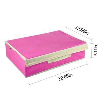 360DSC 2-in-1 15 slot kaus kaki ikatan Bra bambu arang Case kotak penyimpanan wadah penyelenggara dengan tutup dan pegangan - kemerahan - Internasional