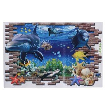 3D Biru Sea Dunia Ikan Lumba-Lumba Dapat Dilepas Wall Sticker Wallpaper Rumah Seni Dekorasi