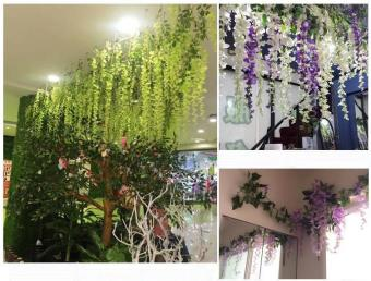3D High Artificial Flower 12pcs Wisteria 75cm Sumilated Flower BestHome Decoration Flower for Garden Shop School - intl
