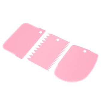 ... 3pcs Plastic Icing Fondant Scraper Cake Baking Tool Pink intl