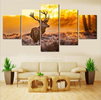 5 Panel Oil Painting Frameless Home Decor Canvas Deer Art PictureWall Painting - intl