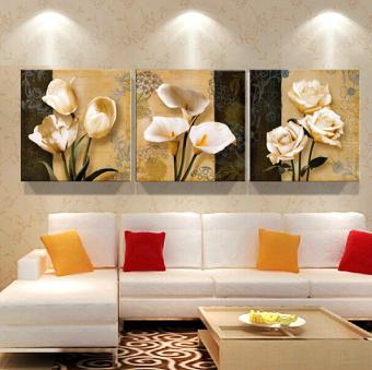 50 cm x 50 cm 3 buah Coklat Orchid Lukisan Dinding Modern