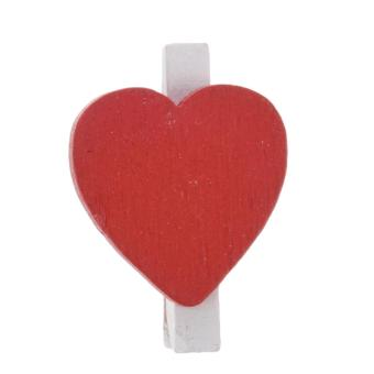50 Pcs Red Heart Accent White Wooden Spring Clothespins Memo Clips