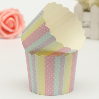 Harga 50Pcs Hard muffin paper cups anti-oil cake paper cup mechanism hightemperature cake mold #04 - intl