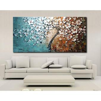 harga 60 cm x 120 cm dibingkai tangan-dicat lukisan cat minyak kanvas cetak satu set pohon bunga dekorasi living room untuk rumah kantor gambar seni kamar tidur Lazada.co.id