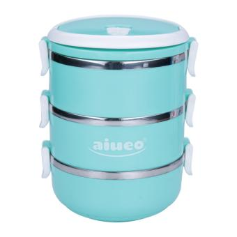 AIUEO Eco Lunch Box Stainless Steel Rantang 3 Susun Glossy