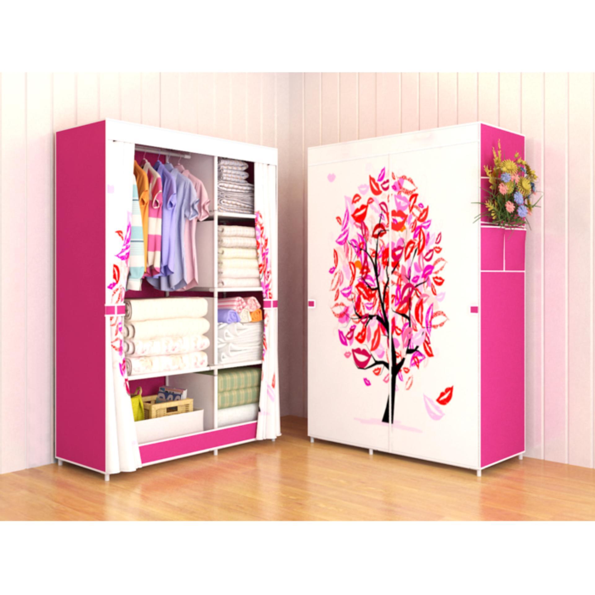 Allunique Lemari Pakaian Portable 2 Layer Pink Tree Lazada Indonesia