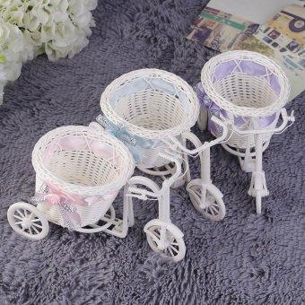 Allwin Simpul Rotan Sepeda Roda Tiga Keranjang Hadiah Pesta Dekorasi Pernikahan Dekorasi Rumah Ungu - 3