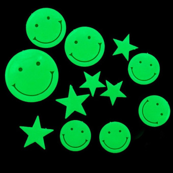 Amart Wall Sticker Fluorescent Plastic Home Decorate Wall Art Glow in the Dark(Smiling Face Stars) - intl