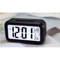 ANGEL Smart Digital LCD/LED Alarm Clock Temperature Calendar Auto Night Sensor Clock - Black