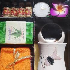 Aromatherapy / Aromaterapi Complete Package (4 oil, Burner, Towel, Tealight Candle, Home Spa Soap)