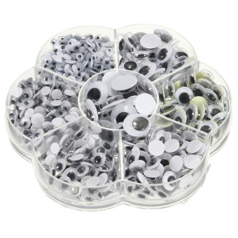 Autoleader 700 buah/kotak (campuran 7 ukuran) bulat perekat Googlymelata mata untuk diseduh