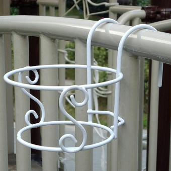 Balcony Plant Hanging Racks Creative Round Flower Pot Railing Fence Decor - intl