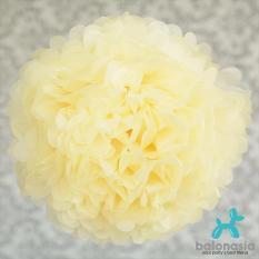 Balonasia 2 pcs Dekorasi Pesta Tissue Paper Pom Poms Flower Ball 20cm Light Yellow