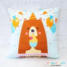 Bantal Printing - Birthday Party Pillow- Kado Ulang Tahun Motif Boneka Beruang Unik