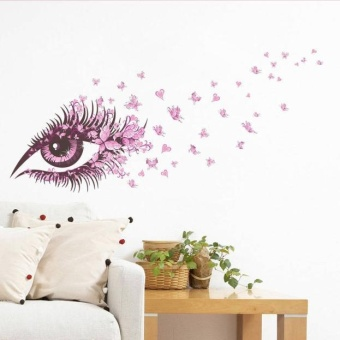 Beautiful Girls Eye pink butterfly decor living room decor DIY artwall stickers - intl