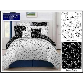 Bedcover Set Katun Motif Janice White Mix Black