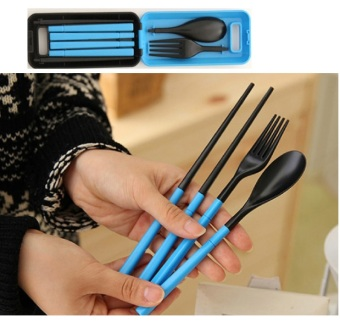 Best Portable Travel Cutlery Set / Set Alat Makan Sendok Garpu Sumpit - Biru
