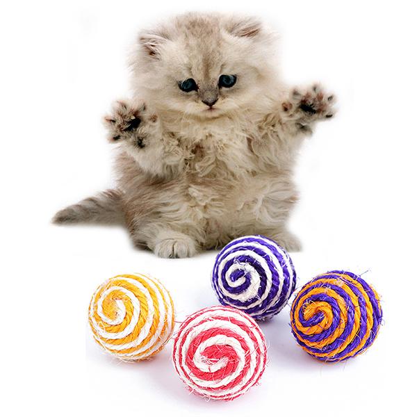 ... Bluelans(R) Kucing Pet Tali Sisal Mainan Permen Mainan Bola Tenun Cuplikan Awal Menangkap ...