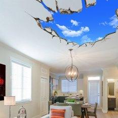Bluelans® langit-langit Hotel 3D Wallpaper stiker dinding kamar awan langit biru 50 cm x 70 cm