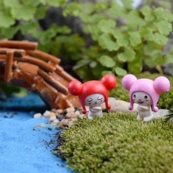 BolehDeals 10 x alat peraga pemandangan putaran telinga boneka MiniMicro dekorasi miniatur mobil berwarna merah muda ...