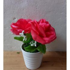 bunga pot artificial bunga rose +pot melamin bunga meja