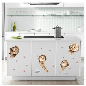 Cat Wall Sticker Bedroom Living Room Cupboard Porch Corridor GlassDoors and Windows - intl