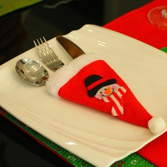 Christmas decorations Christmas hat knife and fork bag - Snowman - intl