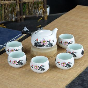 Cina keramik porselen Cina Kung Fu Set teh, Celadon biru Peony cangkir teh Pot keramik