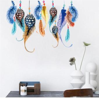 Classic Dream Catcher Colorful Feather Wall Stickers Bedroom MuralArt Livingroom Posters Kids Room Decals Diy Wallpaper - intl