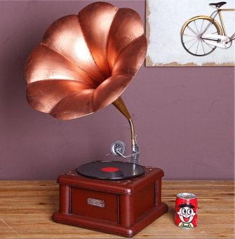 Classical Trumpet Horn Turntable Gramophone Art Home Decor - intl
