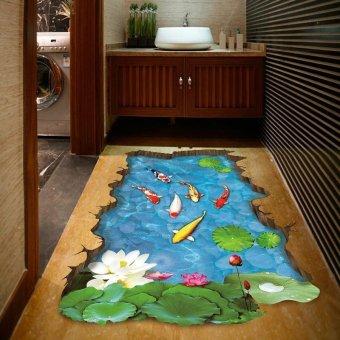 Coconie 3 d Stream lantai / dinding stiker Removable Mural Decals Vinyl seni Living Room dekorasi - 4