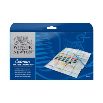 COTMAN Water Colours Painting Plus 24 Half Pan Set Gambar Lukis CatAir Lukisan Studio Indoor