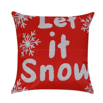 Cotton Linen Christmas Xmas Sofa Waist Cushion Cover Car Pillow Case Cover(Red) - intl