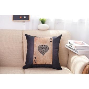 Cotton Linen Pillowcase Poker Pattern Chair Cushion Pillow Cover Office Decor - intl