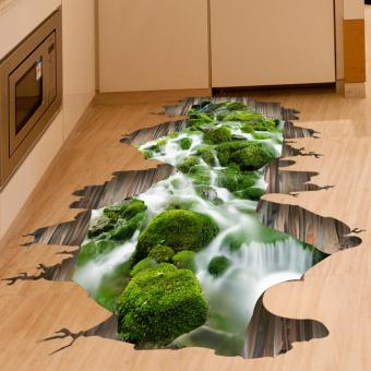 Creative 3D Floating Bridge Bedroom Living Room Removable WallStickers (Green) - intl